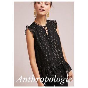 Anthropologie metallic polka dot ruffled blouse